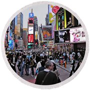 Times Square New York Round Beach Towel