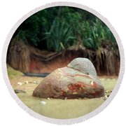 Round Beach Towel featuring the photograph Tinopai Beach Rock by Mark Dodd