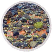 Round Beach Towel featuring the photograph Tinopoi Beach Rocks by Mark Dodd