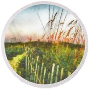 Round Beach Towel featuring the painting To The Sea by Lynne Jenkins