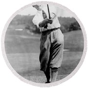 Round Beach Towel featuring the photograph Tom Armour Wins Us Golf Title - C 1927 by International  Images