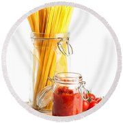 Tomatoes Sauce And  Spaghetti Pasta  Round Beach Towel by Amanda Elwell