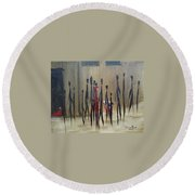 Round Beach Towel featuring the painting Too Busy To Notice by Judith Rhue