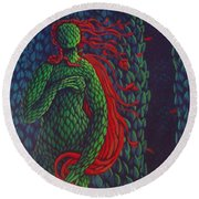 Topiary Venus Scene Round Beach Towel by Donna Huntriss