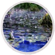 Torch River Water Lilies Ll Round Beach Towel