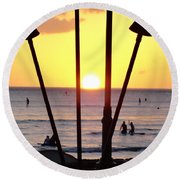 Torched Sunset Round Beach Towel