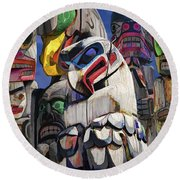 Totem Poles In The Pacific Northwest Round Beach Towel