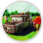 Round Beach Towel featuring the photograph Tow Mater Live by Mario Carini