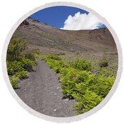 Trail At Haleakala Crater Round Beach Towel
