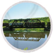 Round Beach Towel featuring the photograph Train And Trestle by Sherman Perry