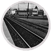 train tracks - Black and White Round Beach Towel by Bill Owen