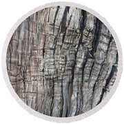 Round Beach Towel featuring the photograph Tree Bark No. 1 Stress Lines by Lynn Palmer