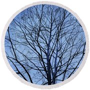 Round Beach Towel featuring the painting Tree In Winter by Andrew King