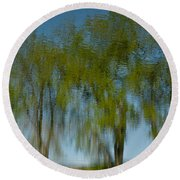 Tree Line Reflections Round Beach Towel