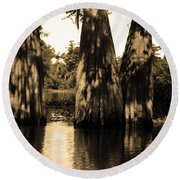 Trees In The Basin Round Beach Towel