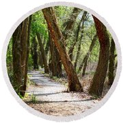 Round Beach Towel featuring the photograph Trestle Walk by Kathryn Meyer