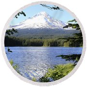 Trillium Lake At Mt. Hood Round Beach Towel by Athena Mckinzie