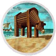 Trojan Cow Round Beach Towel