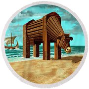 Trojan Cow Round Beach Towel