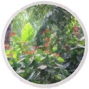 Round Beach Towel featuring the photograph Tropical Paradise by Donna  Smith