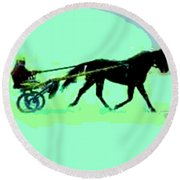 Round Beach Towel featuring the photograph Trotter by George Pedro