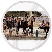 Round Beach Towel featuring the photograph Trotting 3 by Pedro Cardona