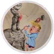 Trump Shaping Up The Future Round Beach Towel by Ylli Haruni