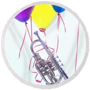 Trumpet Lifted By Balloons Round Beach Towel