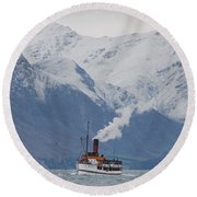Tss Earnslaw Steamboat Against The Southern Alps Round Beach Towel