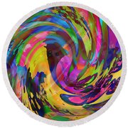 Round Beach Towel featuring the mixed media Tsunami by Kevin Caudill