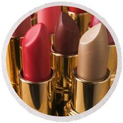 Tubes Of Lipstick Round Beach Towel by Garry Gay