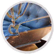 Tufted Leather Interior Of Antique Carriage Round Beach Towel by Connie Fox