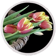 Tulips From The Garden Round Beach Towel
