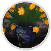 Tulips In Blue Round Beach Towel