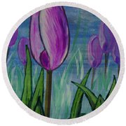 Tulips In The Mist Round Beach Towel