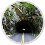 Tunnel On A Lonely Road Round Beach Towel