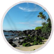 Turtle Beach Oahu Hawaii Round Beach Towel