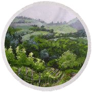 Round Beach Towel featuring the painting Tuscan Vinyard Painting by Chris Hobel