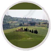 Tuscany Round Beach Towel by Carla Parris