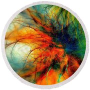 Twilight In The Garden Round Beach Towel by Klara Acel