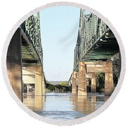 Round Beach Towel featuring the photograph Twin Bridges by Elizabeth Winter