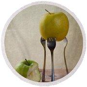 Two Apples Round Beach Towel by Nailia Schwarz