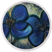 Two Blue Poppies Round Beach Towel