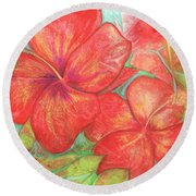 Two Hibiscus Blossoms Round Beach Towel by Carla Parris