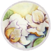 Two Magnolia Blossoms Round Beach Towel by Carla Parris