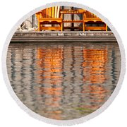 Round Beach Towel featuring the photograph Two Wooden Chairs by Les Palenik