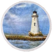Round Beach Towel featuring the painting Tybee Island Lighthouse by Lynne Jenkins