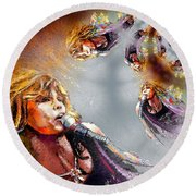 Tyler Mania Round Beach Towel by Miki De Goodaboom