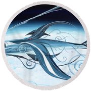 U2 Spyfish - Spy Plane As Abstract Fish - Round Beach Towel by J Vincent Scarpace