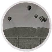 Round Beach Towel featuring the photograph Unconcerned Lamas by Eric Tressler